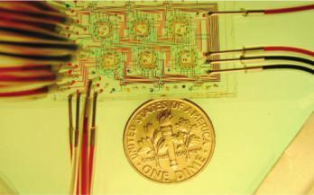 """图1:一种微流体恒化装置,展示了可以包含在非常小的尺寸内的高密度微流体通道。来自Balagaddé等人的图片""""长期监测在微型恒温器中进行程序化群体控制的细菌。"""