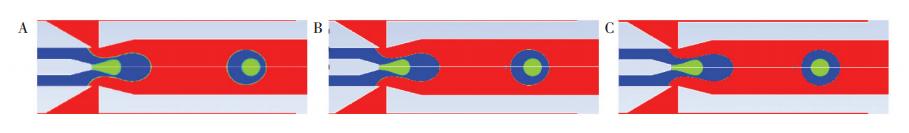 数值分析过程的网格独立性验证: (A) 驻x = 0. 005 mm; (B) 驻x = 0. 002 mm; (C) 驻x = 0. 001 mm